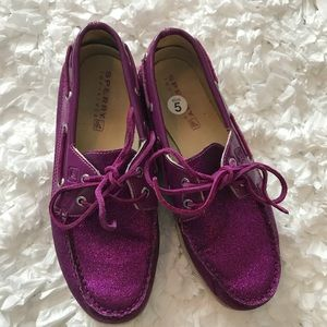 Youth Purple Glitter Boat Shoes